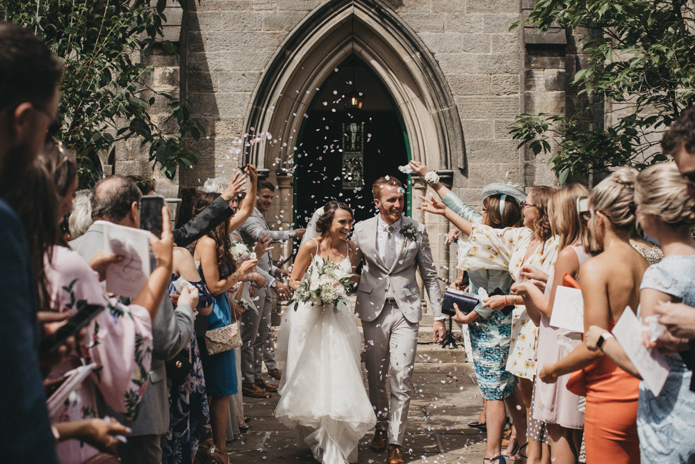 confetti photo of newly married couple at Derbyshire church wedding