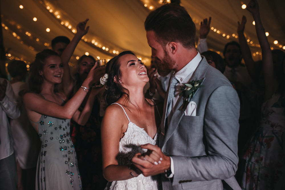 first dance by bride and groom at Derbyshire marquee wedding reception