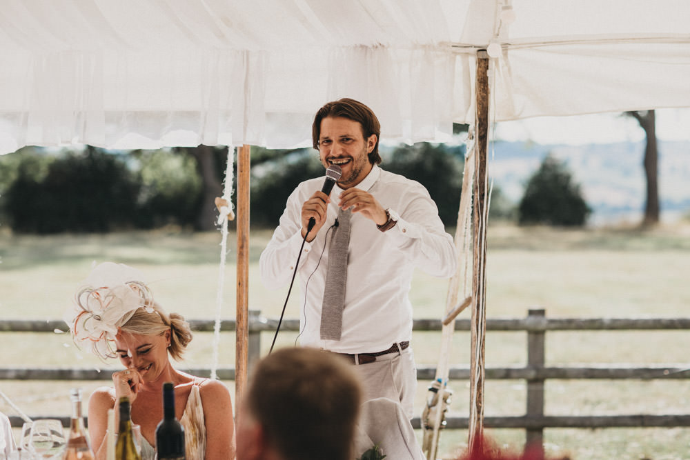 best man wedding speech at open marquee wedding in Derbyshire