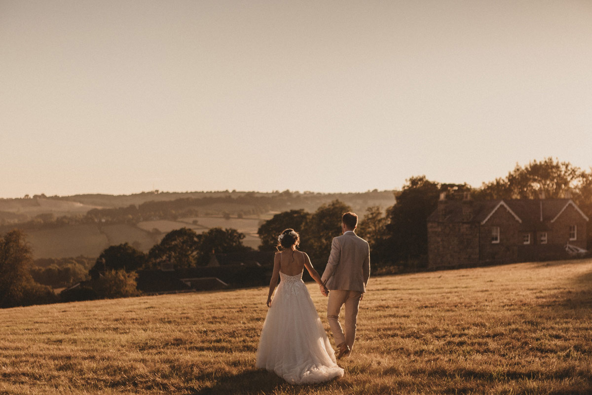Derbyshire wedding photography of bride and groom at sunset