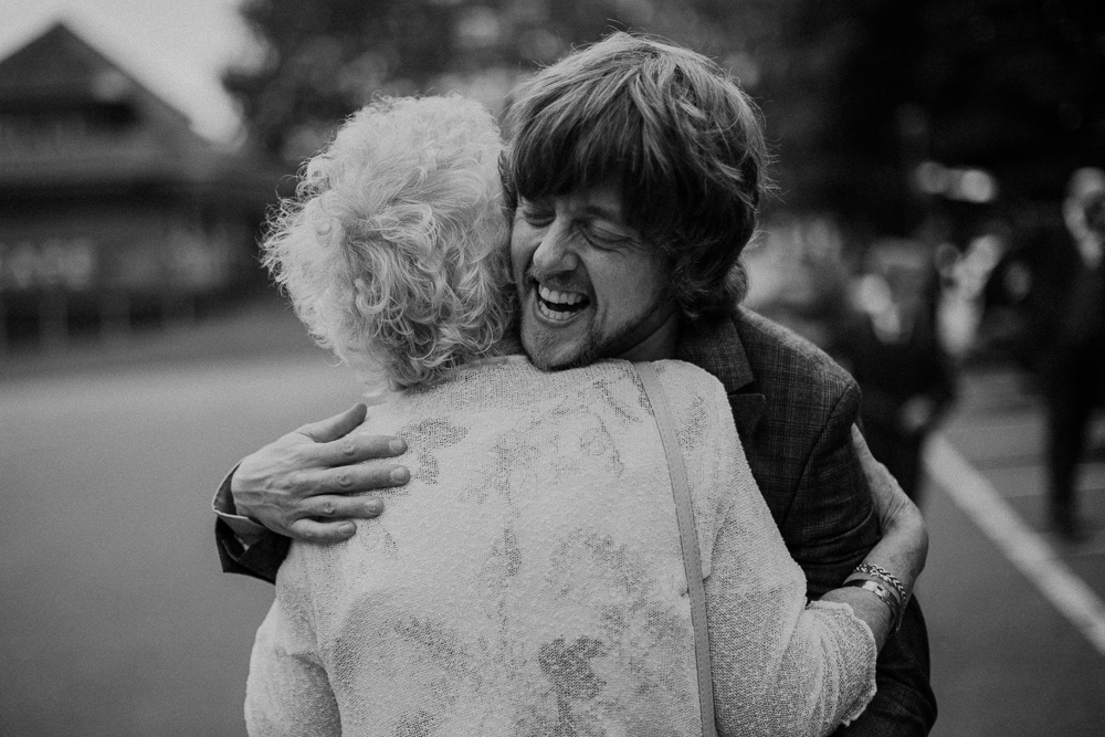 Emotional groom with grandma