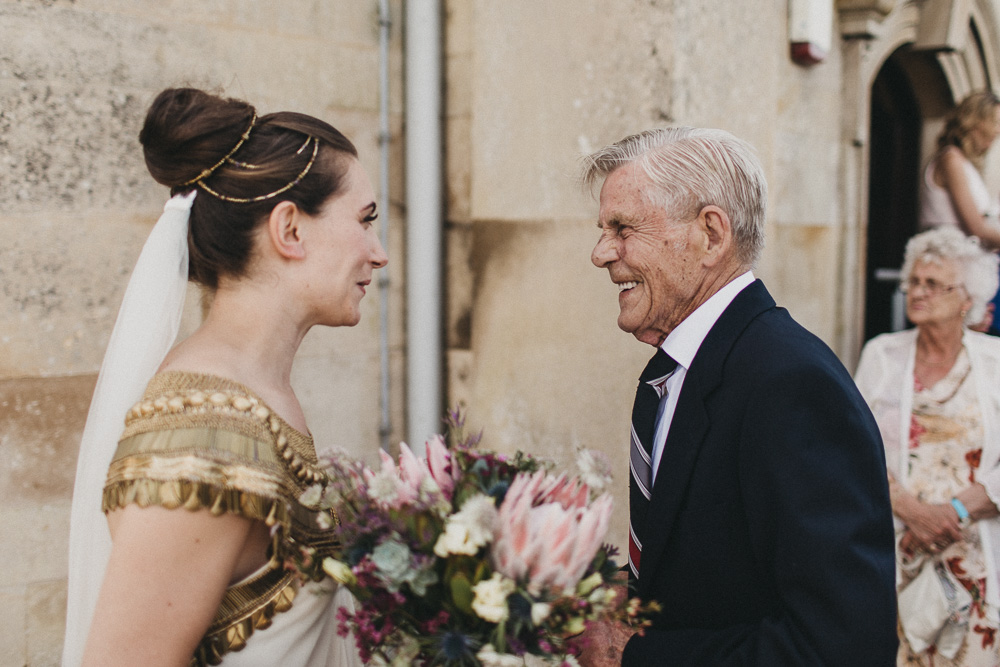 Rutland wedding bride with grandfather