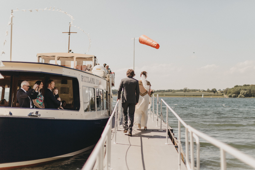 rutland bell boat with bride and groom