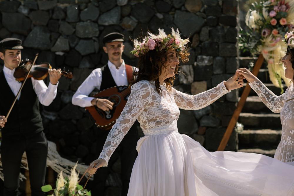 Boho bride dancing