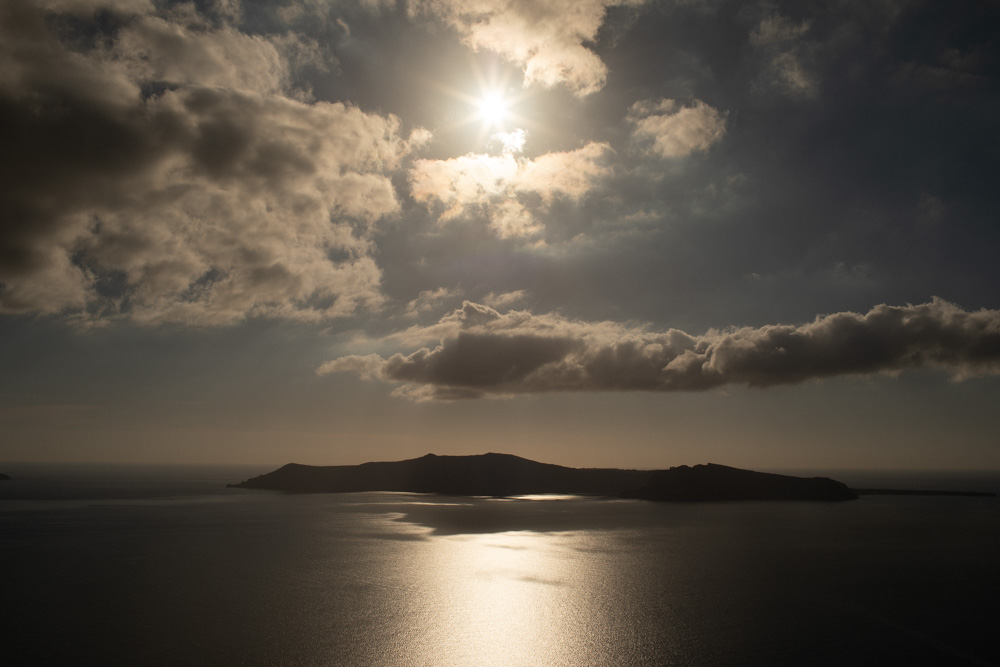 Caldera view in Santorini Greece