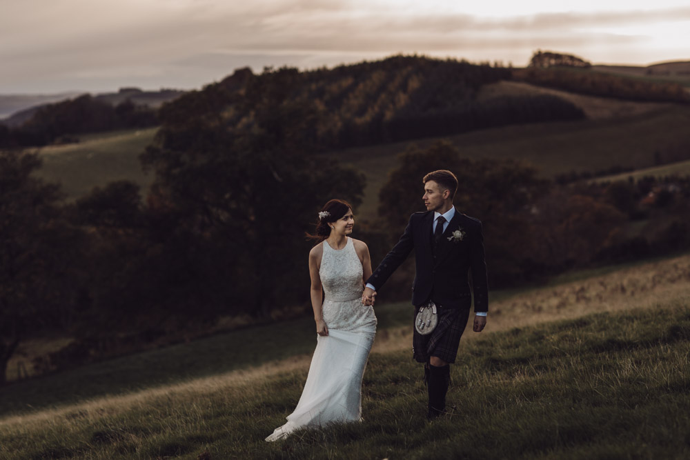 Bride and Groom in Scotland countryside