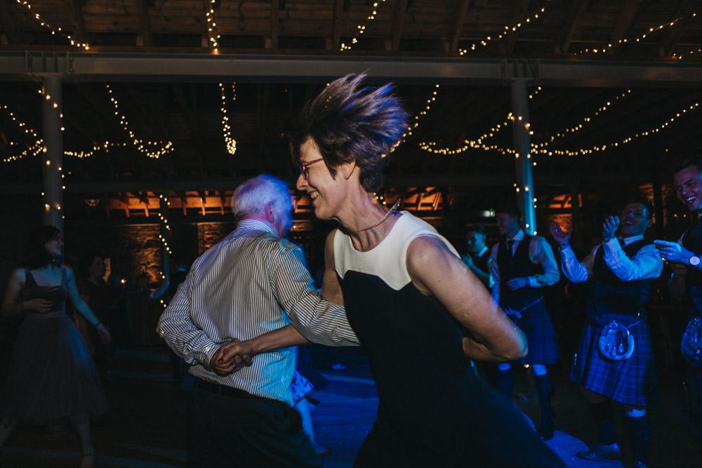 Ceilidh dancing at Scottish wedding